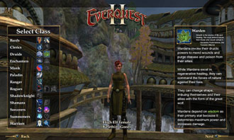 "Illustration of character, High Elf Female Telethon, in video game with description of Wardens and a dialog box for ""select class."""