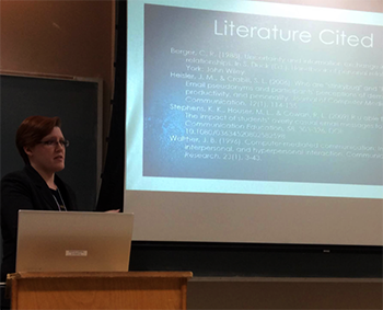 Sarah Pollock presents her research on effective email subject lines at an oral session during the 2016 undergraduate research.
