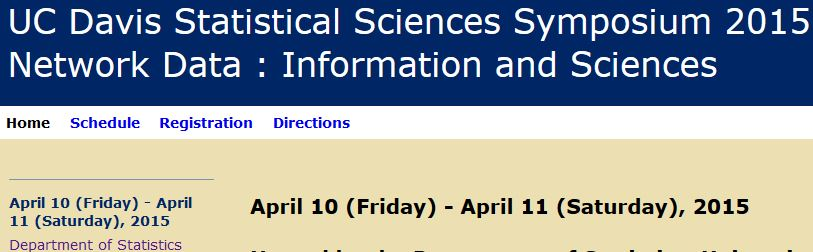 UCD Statistical Sciences Symposium 2015: Network Data
